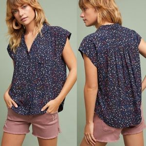 Anthropologie Maeve Short Sleeve Button Up Top
